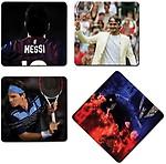 Set of 4 Bluegape Messi and Federer Legends Coasters and Holder