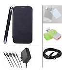 Branded Flip Case Cover for Micromax A89 - Black + Screen Guard + Aux Cable + Multi Card Reader + 5 in 1 Travel Charger