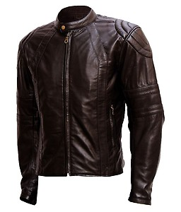 Anbow Brown Full Sleeves Faux Leather Biker Jacket