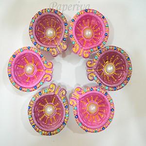 Decorated Deepawali/ Diwali Diya - Diwali Gift - Set of 6