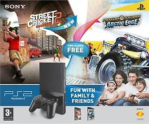 Sony PlayStation 2 Console + Street Cricket 2 & MotorStorm: Arctic Edge price in India.