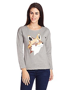 Style Quotient By NOI Women's Cotton Graphic Print Sweatshirt (AW15 SQ WOLF_Grey_Small)
