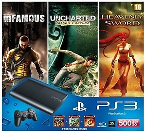 Sony PlayStation 3 500GB Slim Console with 2 Free Games price in India.