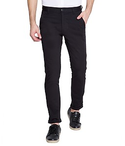 Highlander Black Slim Fit Chino Trousers