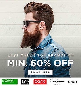 Top Brand Men's Clothing min 60% off from Rs. 240
