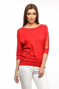 Buy Cation Casual 3/4th Sleeve Solid Women's Red Top Only for Rs.420
