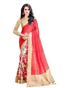 Trendz Women's Cotton Silk Saree (TZ_Sanskruti_Red)