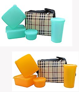I Lunch Box (Check Design) Food Grade Containers & Insulated Bag (4 Pcs.