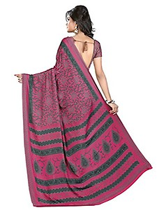 Buy Kanchnar Women's Classic Printed Ethnic Casual Wear Indian Crepe Silk Saree With Matching Blouse Only for Rs.939