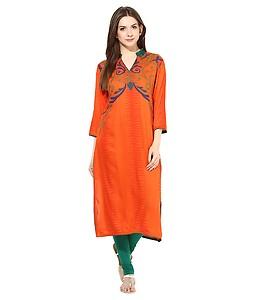 Shakumbhari Orange Rayon Straight Kurti