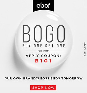 Buy 1 Get 1 Free on ABOF  Men and Women Clothing, Footwear and Accessories