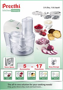 Preethi Kitchen Champ Fp   Watt Vegetable Chopper White