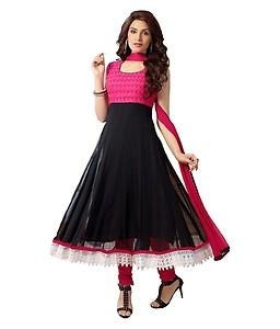 Khantil Pink Georgette Anarkali Semi Stitched Suit