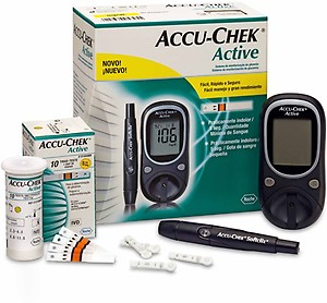 Accu-Chek Active Glucose Monitor with 10 Strips Glucometer (Black) price in India.