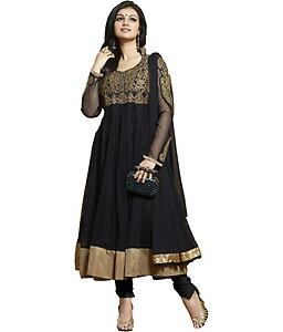 Adah Fashions Black Georgette Semi Stitched Suit