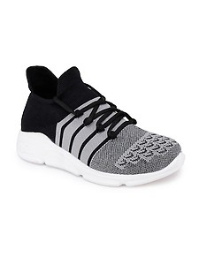 grey fabric slip on sports shoes