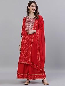 red cotton kurta sharara set