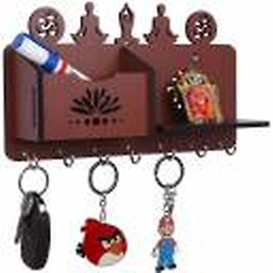 Arpita Crafts Yoga Pose Brown Home Décor Stylish Wood Key Holder(7 Hooks, Brown)