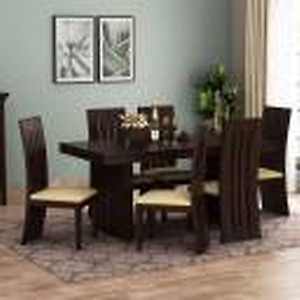Kendalwood Furniture Premium Quality Dining Table with 6 Chair Solid Wood 6 Seater Dining Set(Finish Color - Walnut with Cream Cushions)