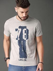 Roadster Men Grey Melange Varsity Graphic T-shirt