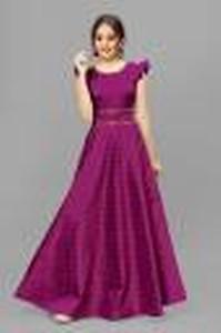 Girls Maxi/Full Length Festive/Wedding Dress(Purple, Cap Sleeve)