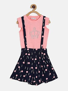 Peppermint Girls Pink Printed T-shirt with Shorts