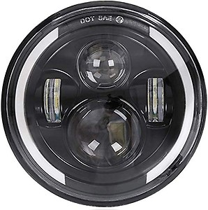 Woschmann Autocolt 7 Inch Round 4 Led Half Ring Thar/Bullet High Intensity H4 Headlight Full Day-Time Running for Royal Enfield & Harley Davidson Bikes & Thar Jeep