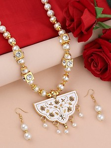 white metal long necklace