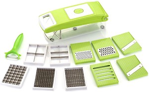Seychelle Famous Vegetable and fruit Cutter Slicer With 11 Different Blades for Every Home Vegetable & Fruit Grater & Slicer  (1 Plain Slicer, 1 Potato Chipser, 1 Fruit Dicer, Big Compartment, 1Grater Thin. 1 Grater Thick., 1 Tomato Chipser, 1 Plain Potato, 1 Veg Choper, 1 Ripple Slicer, 1 Professional Peeler) price in India.