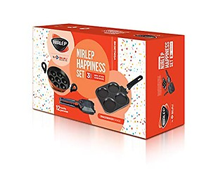 Nirlep by Bajaj Electricals 3-Piece Non-Stick Breakfast Gift Set (Multi Snack Maker 2.2 mm, Sandwich Griller 2 mm & Appa Patra with 7 Cavities)