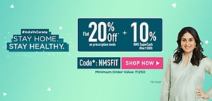 Get Flat 20% OFF* Medicines + 10% NMS SuperCash*