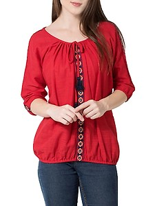 tassel tie up embroidered top