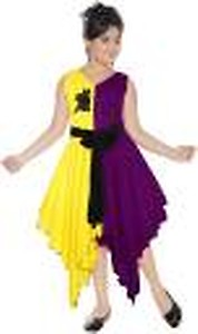 Girls Below Knee Casual Dress(Multicolor, Sleeveless)
