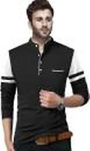 Solid Men Henley Neck Black, White T-Shirt