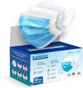 BreatheSafe QUARANT 3 Ply Protective Face Mask with Nose Pin, BFE >98% & PFE >95%,ISI,CE, BIS & ISO 13485:2016 Certified, Tested by SITRA, Complies to ISI Level 2 & EN14683 Type IIR, Premium Mask For Men and Women 3 Ply Surgical Disposable Face Mask With Thick Melt Blown (SMMS) Filter, Anti-Virus, Anti-Bacteria, Anti-Pollution Mask with Nose Clip PFM100 Water Resistant Surgical Mask With Melt Blown Fabric Layer(Blue, Free Size, Pack of 50, 3 Ply)
