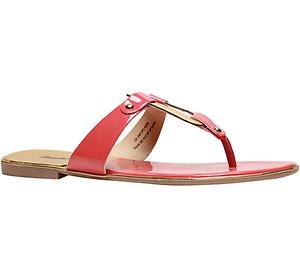 Bata Red Flat Chappals For Women