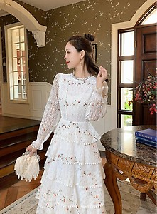 Women's Long-Sleeve Floral Embroidery Elegant Party Maxi Dress