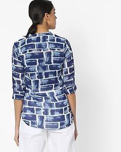 Printed Tunic with Notched Mandarin Collar