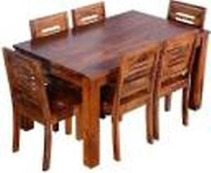 MK Furniture Solid Wood 6 Seater Dining Set(Finish Color - Honey Finish)