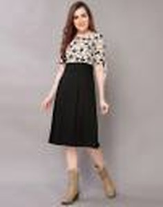 Women Fit and Flare Beige, Black Dress