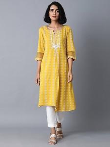 yellow printed a-line kurta