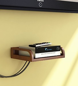 Wall Mountable Set-Top Box Holder in Brown Finish by Home Sparkle
