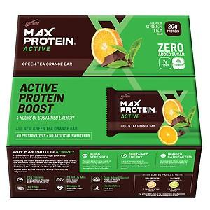 RiteBite Max Protein Active Green Tea Orange Bars 840g - Pack of 12 (70g x 12)