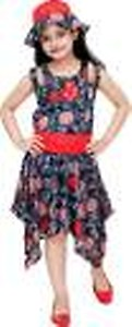 Girls Midi/Knee Length Casual Dress(Multicolor, Sleeveless)