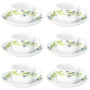 Larah by Borosil Cripper (LH) Cup and Saucer Set, 140ml, 12-Pieces, White