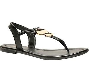 Bata Black Flat Sandals For Women