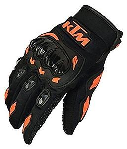 Sky Enterprises Unisex Rubber KTM Bike Riders Gloves (Orange and Black, Medium)