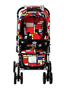 Mee Mee Baby Pram with Adjustable Seating Positions and Reversible Handle (Dark Red Black)