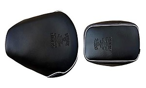 Gate 7 Black with White Piping Seat Cover ,Split Type Set of 2, Leatherette Durable Quality Seat Cover for Royal Enfield Classic 350 / 500 with Embossed Logo