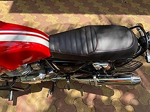 Sahara Seats Royal Enfield Continental GT 650 Design Seat Cover (Black with Red Stitching)